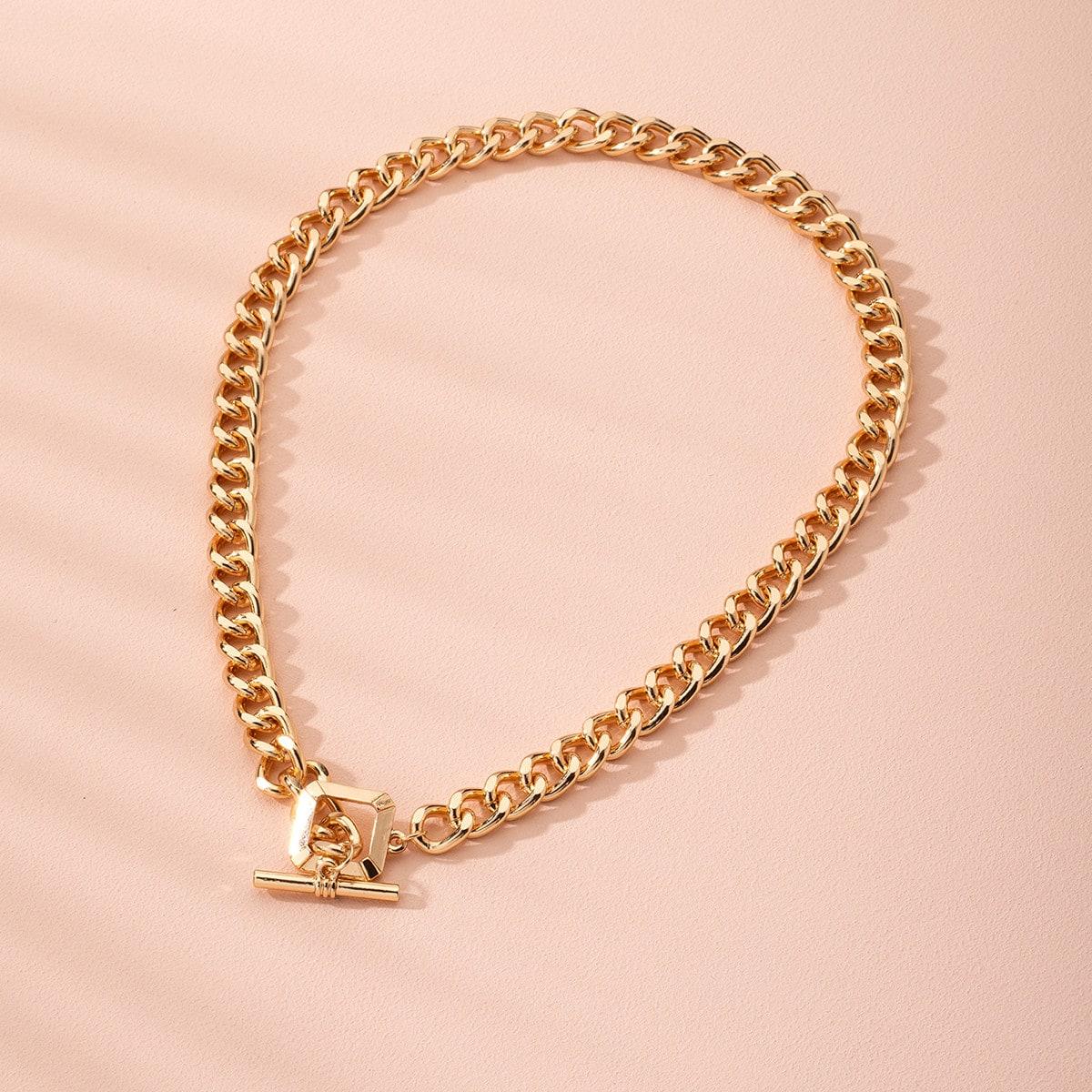 Ожерелье-цепочка с геометрическим декором фото