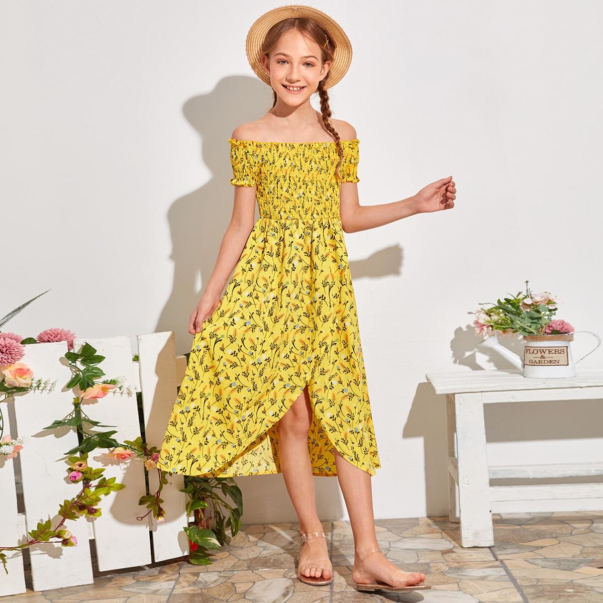 Платье на запах с цветочным принтом и открытыми плечами для девочек фото