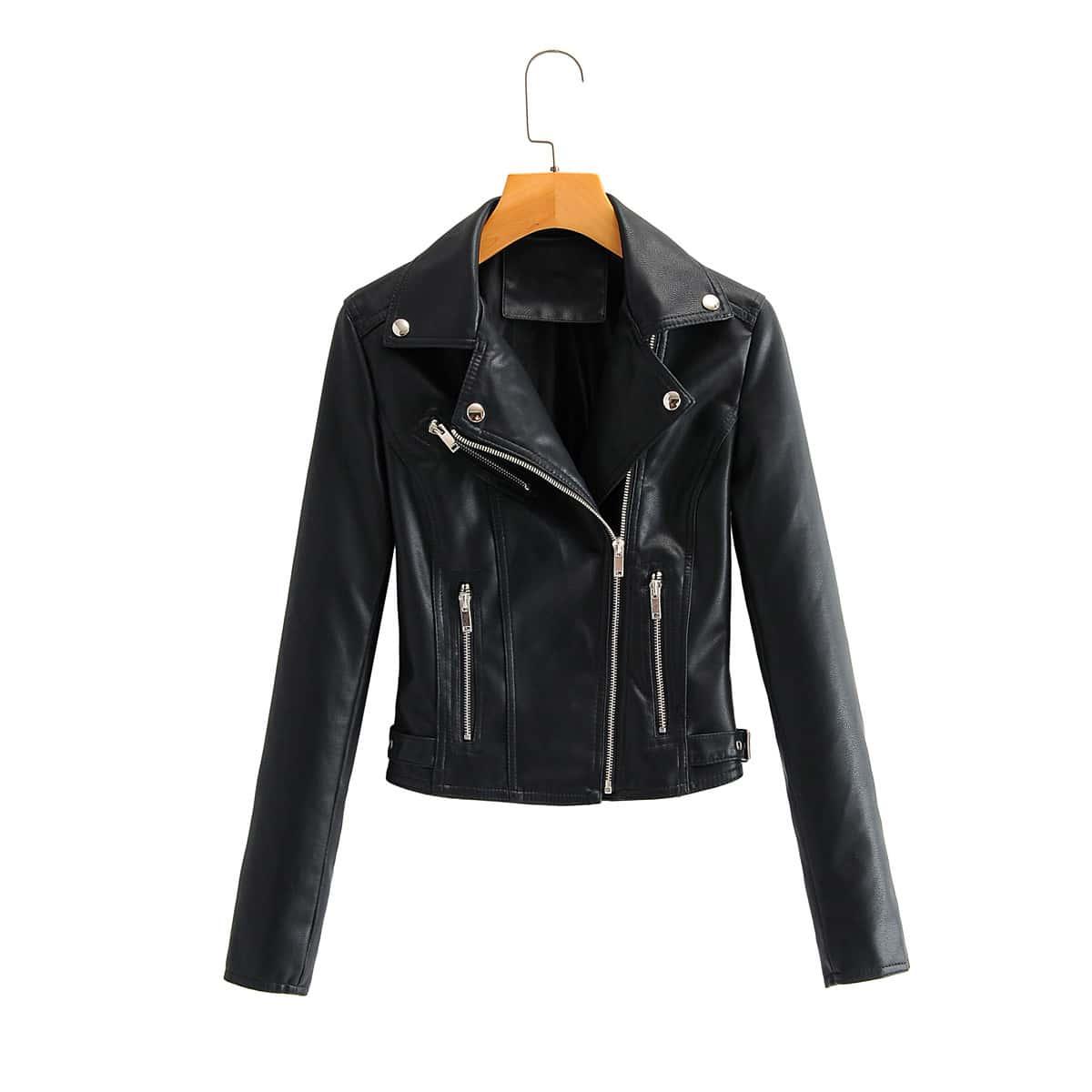 Черный на молнии Одноцветный Повседневный Куртки