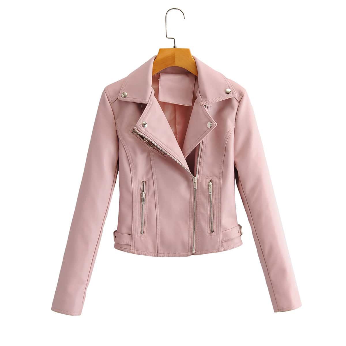 Пыльный Розовый на молнии Одноцветный Повседневный Куртки