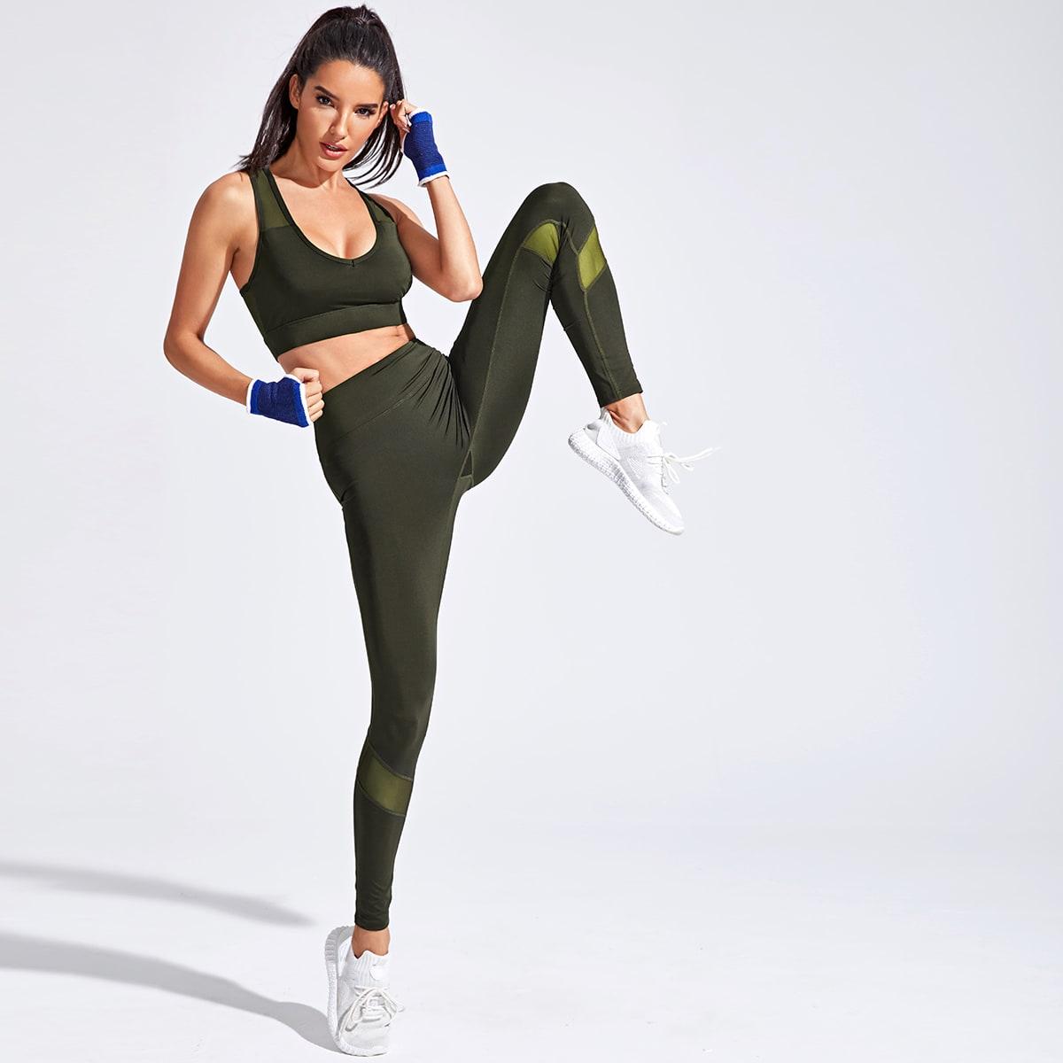 Армейский зеленый Контрастная сетка Одноцветный Спортивные комплекты фото