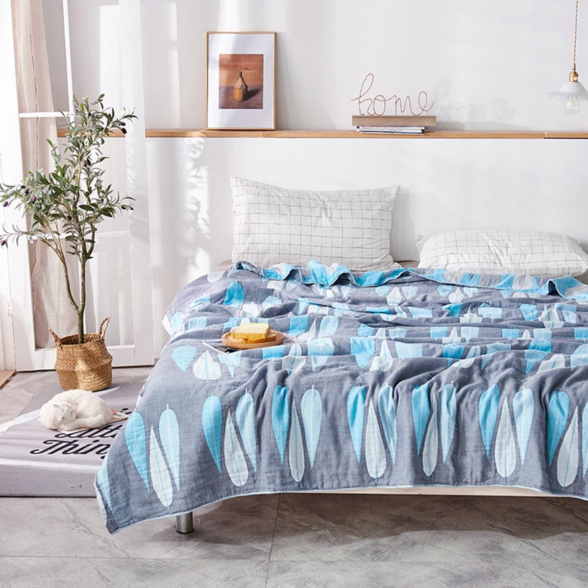 1шт одеяло с принтом листьев фото