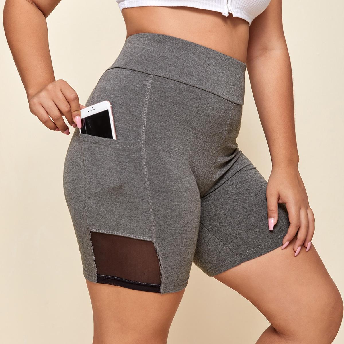 Байкерские шорты размера плюс с карманом и сетчатой вставкой фото