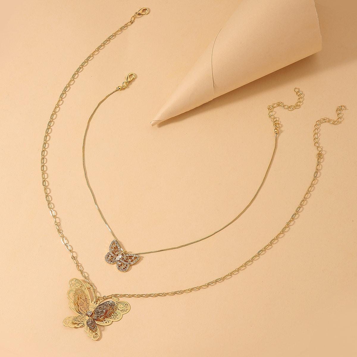 Ожерелье с бабочкой 2шт фото