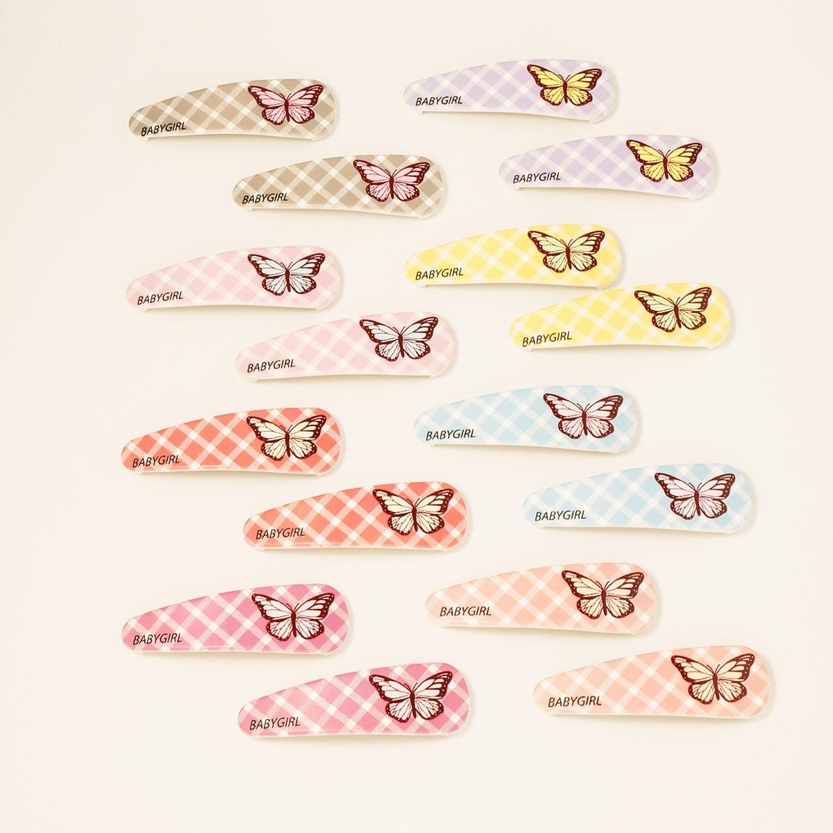 16шт зажим для волос с узором бабочки для девочек
