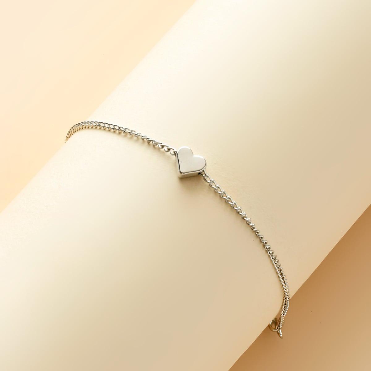 Ножной браслет с декором сердечка для девочек фото