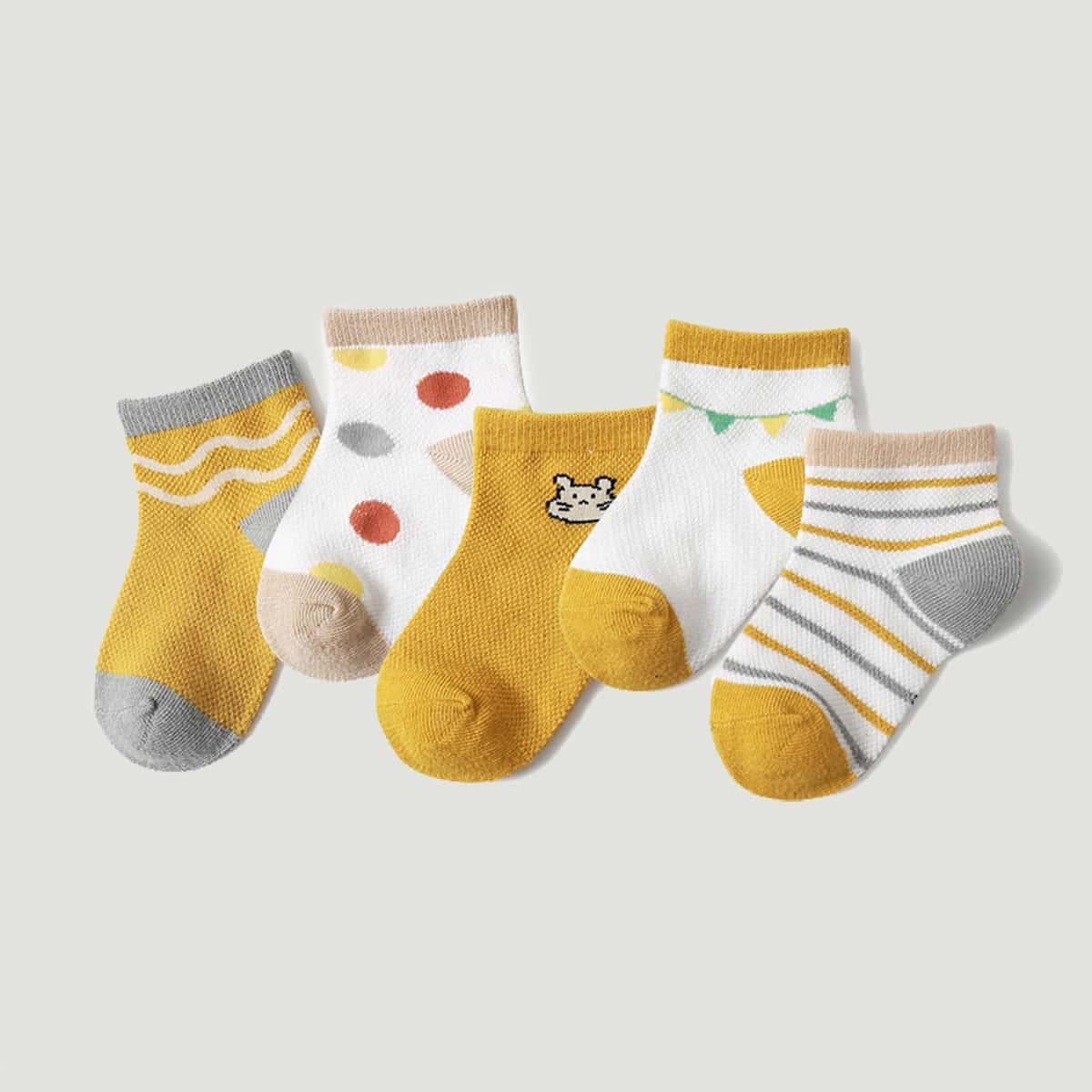 5 пар детские носки с полосатым узором фото