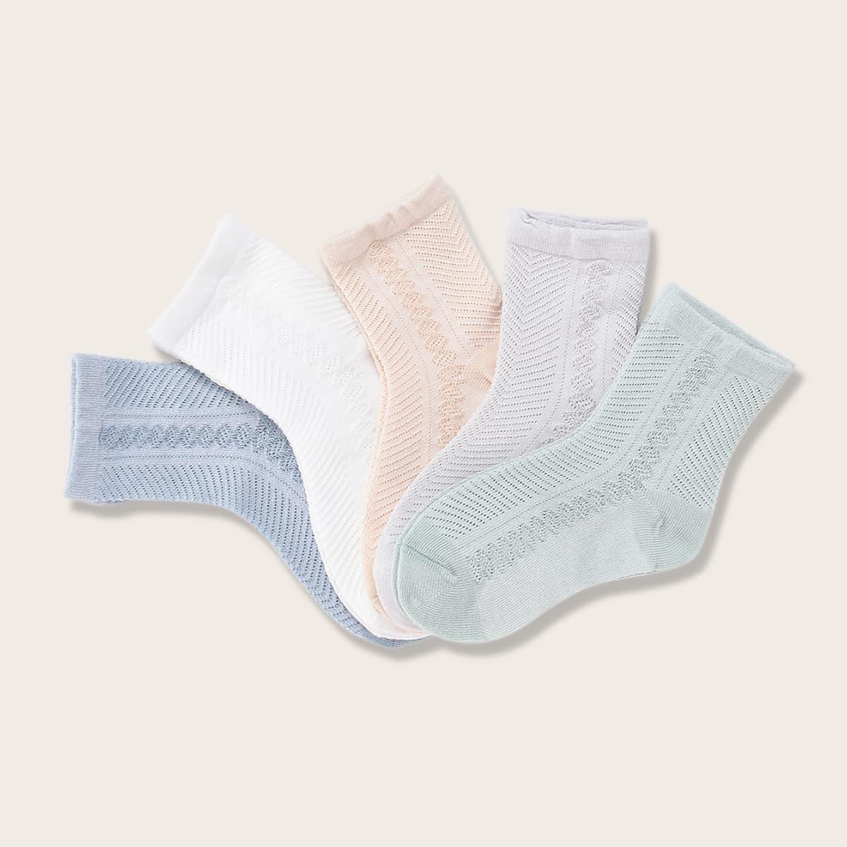 5 пар однотонные носки для девочек фото