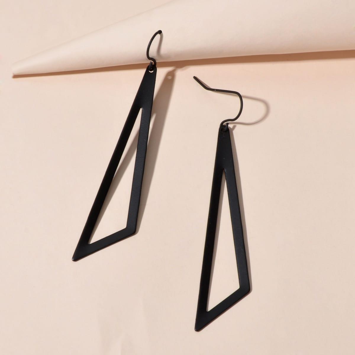 Полые треугольные серьги-подвески фото