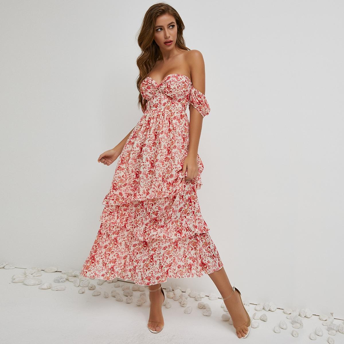 Платье с цветочным принтом, оборкой и драпировкой фото