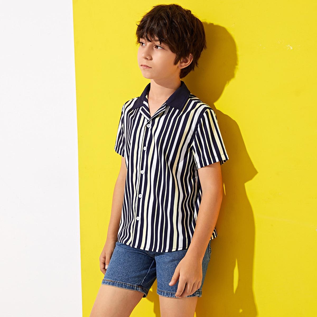 Полосатая рубашка для мальчиков от SHEIN