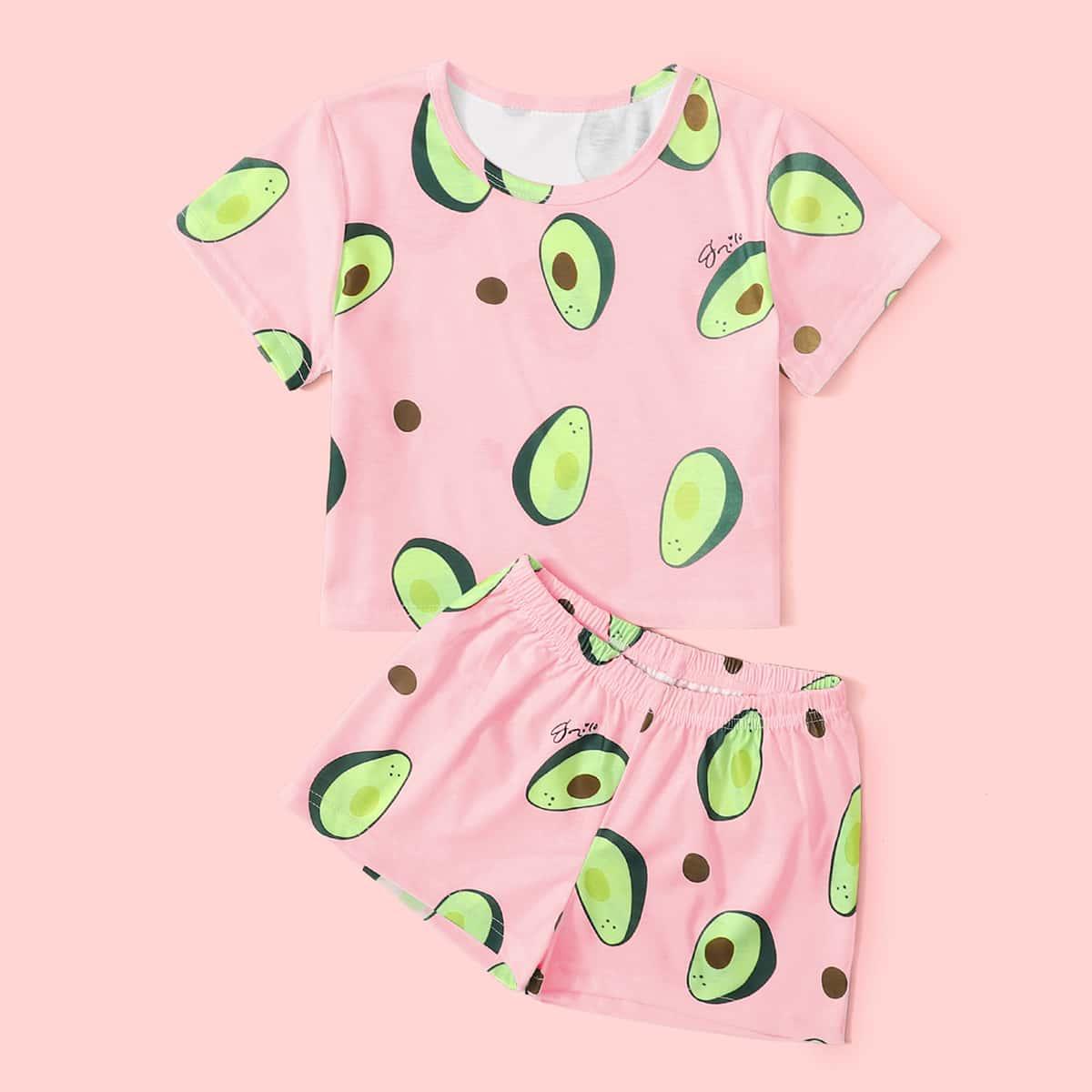 Нежний Розовый Фрукты и овощи милый Домашняя одежда для девочек от SHEIN