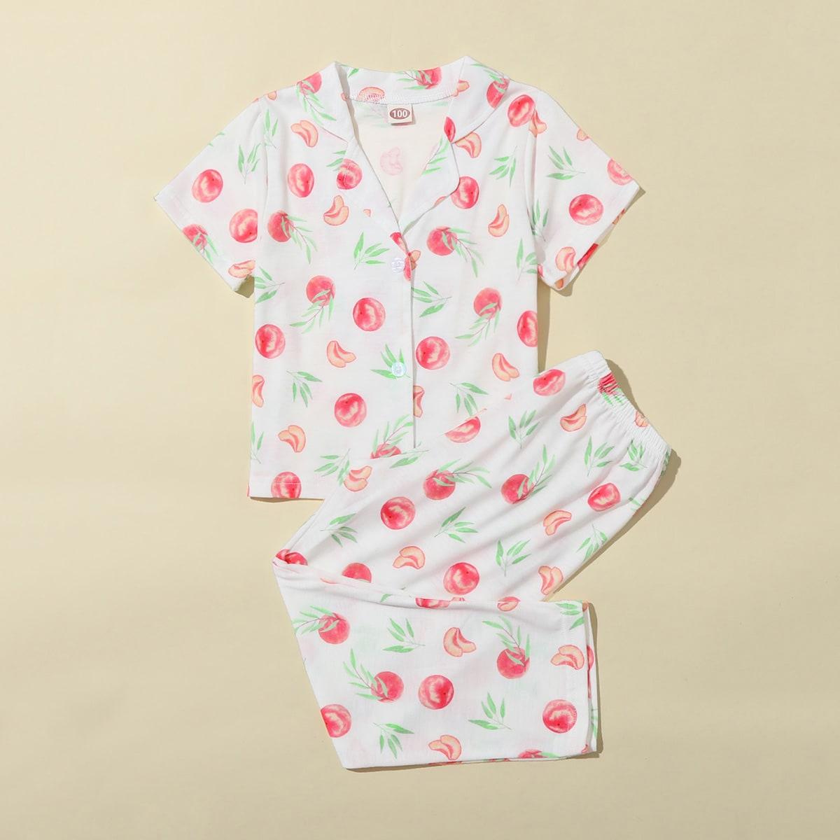 многоцветный Однобортный Фрукты и овощи милый Домашняя одежда для девочек от SHEIN