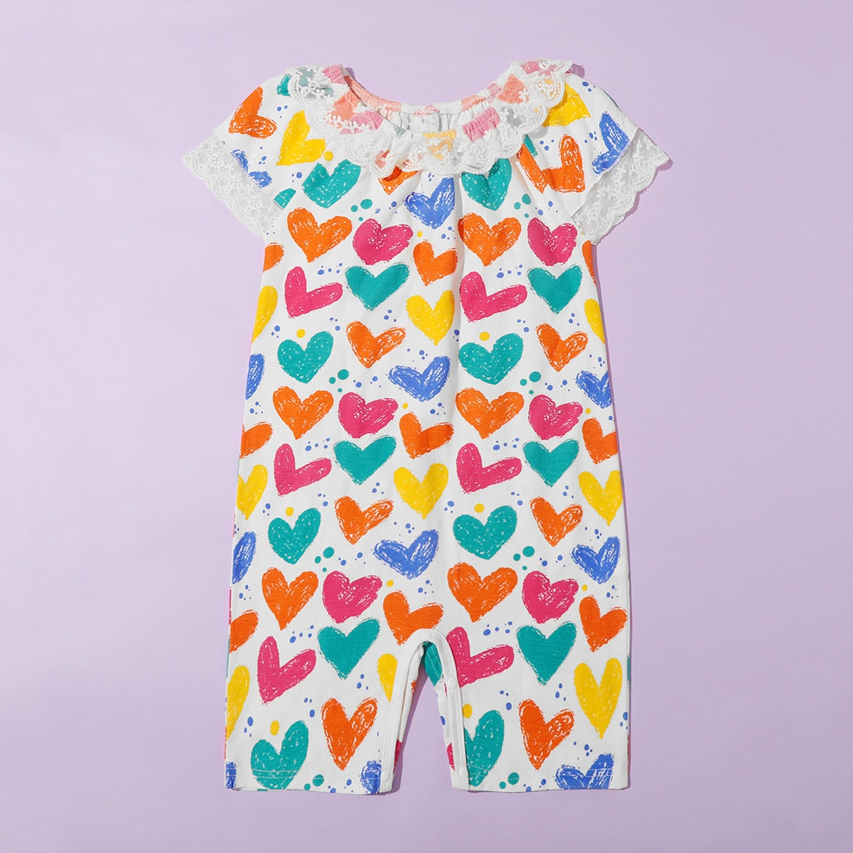 многоцветный Контрастные кружева Сердечко милый Домашняя одежда для девочек от SHEIN