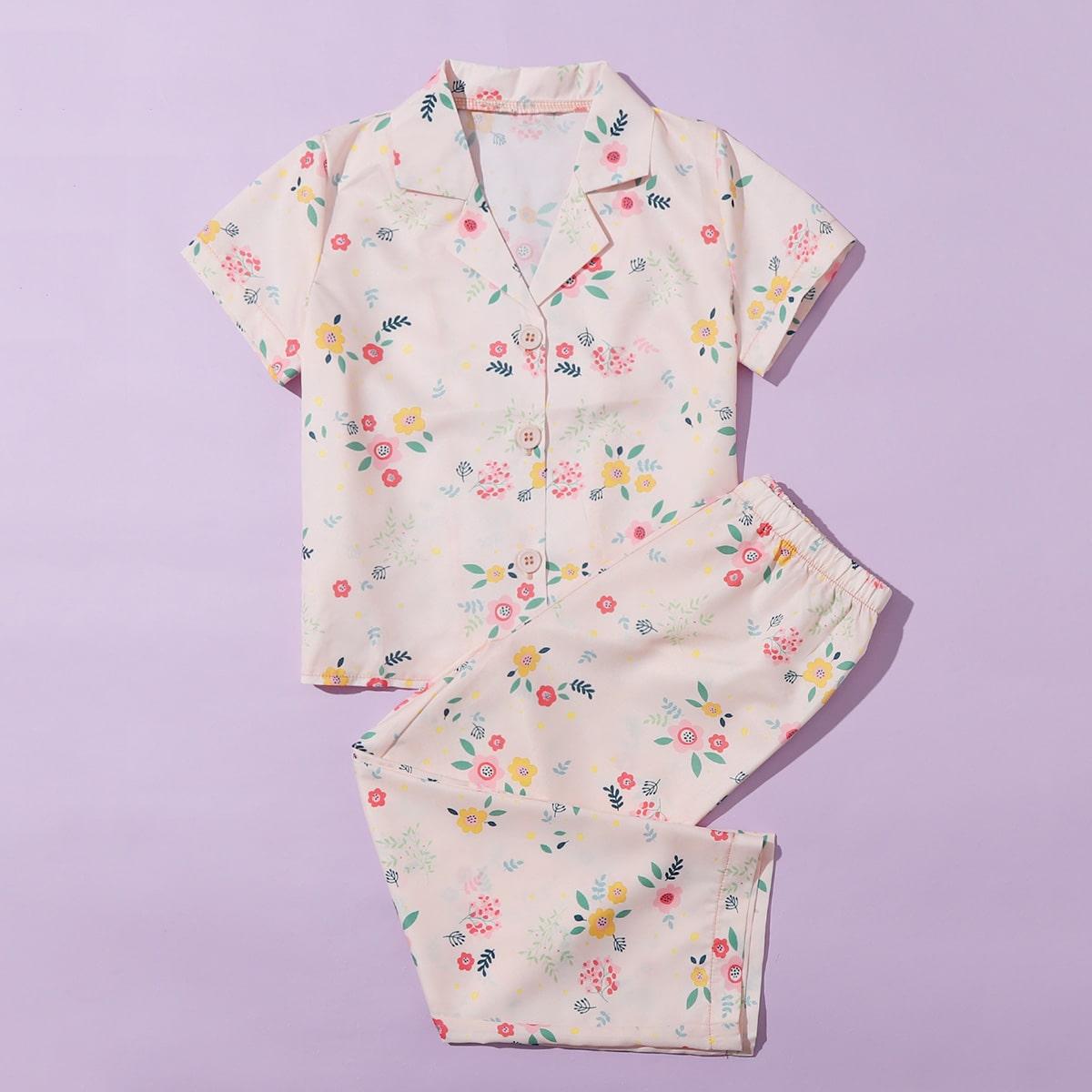 Нежний Розовый Однобортный Цветочный принт милый Домашняя одежда для девочек фото