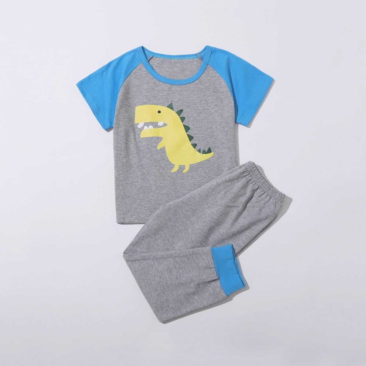 Серые Контрастная отделка Мультяшный принт милый Домашняя одежда для мальчиков от SHEIN