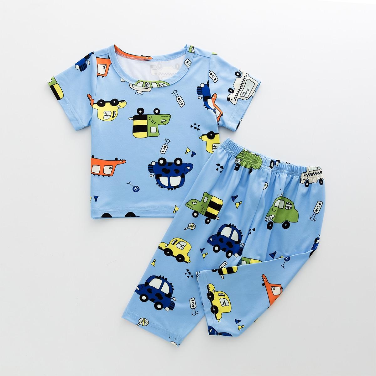 Нежно-голубой Мультяшный принт Повседневный Домашняя одежда для мальчиков от SHEIN