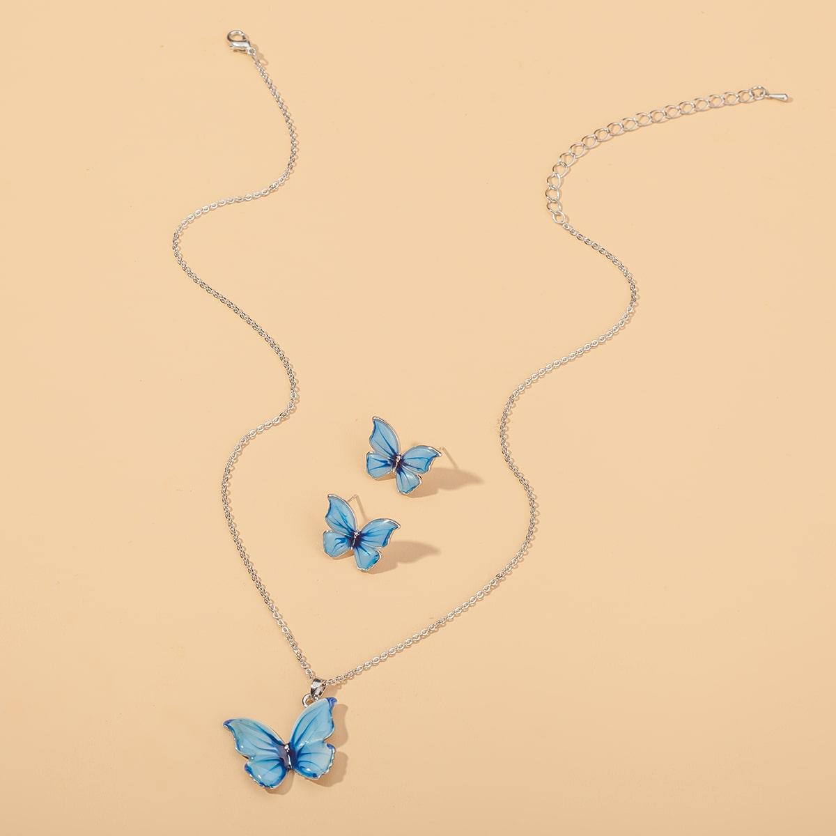 Комплект ювелирных изделий с бабочкой 3шт фото