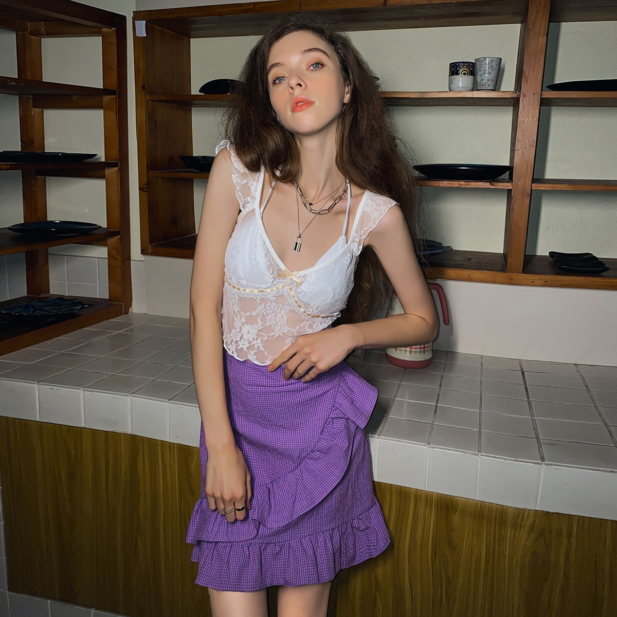 SHEIN / Lace Ruffle Bow Front Sheer Top Without Bra
