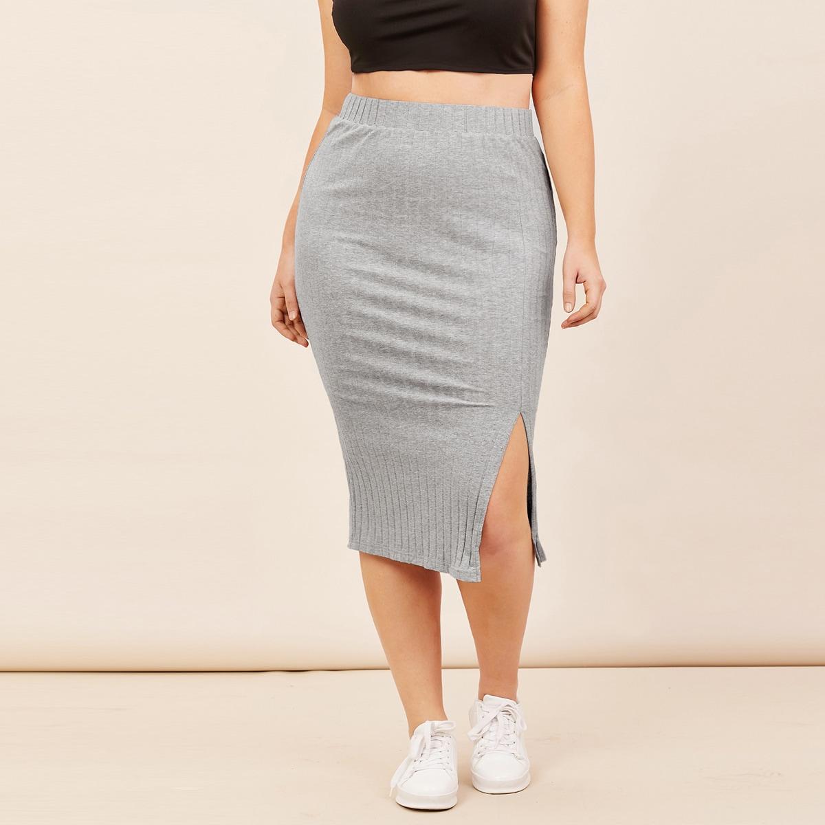 SHEIN / Plus Split Hem Rib-knit Pencil Skirt