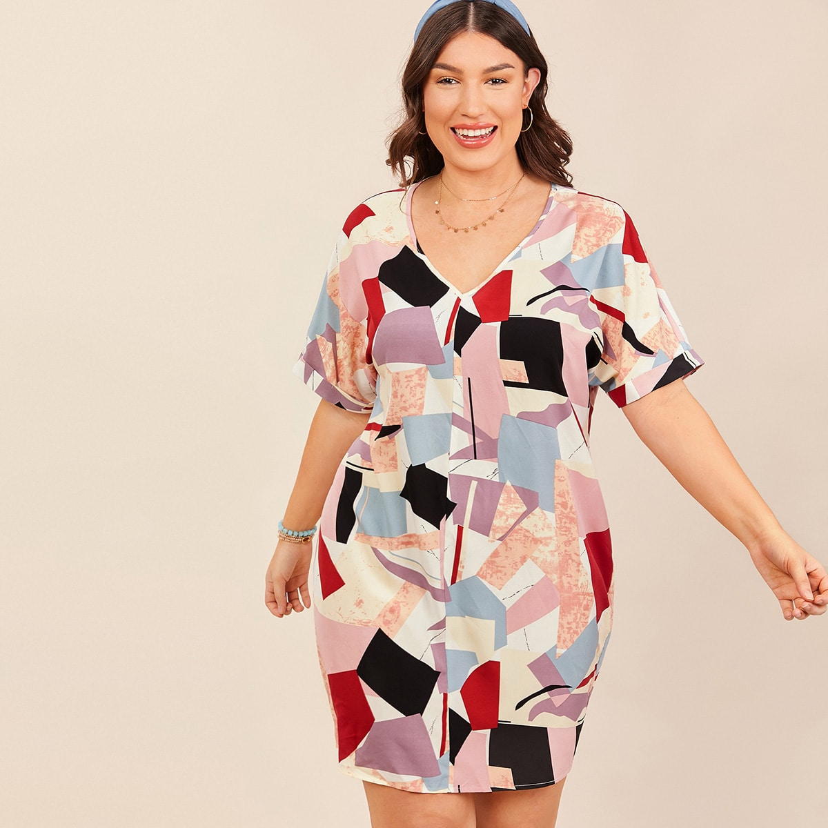 SHEIN / Kleid mit gerollten Fledermausärmeln und Geo Muster