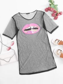 Sequin   Sheer   Dress   Mesh   Lip