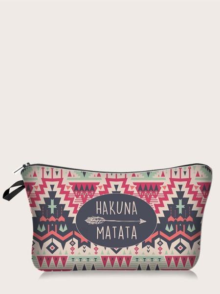 1pc Tribal Print Makeup Bag