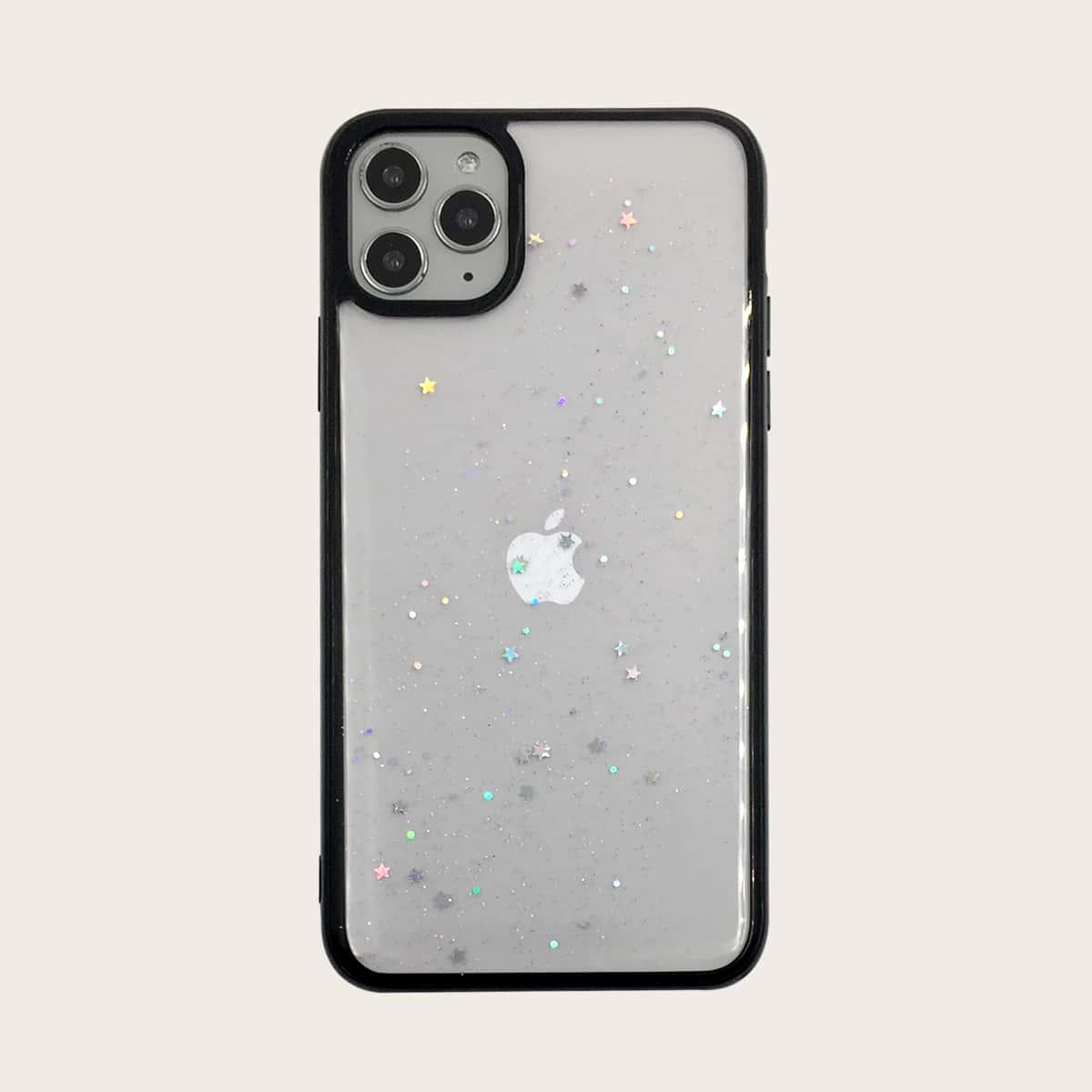 Блестящий прозрачный чехол для iPhone 1шт фото