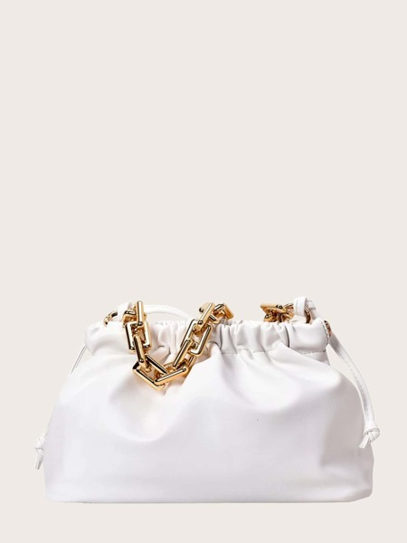 Minimalist Ruched Bag With Chain Handle