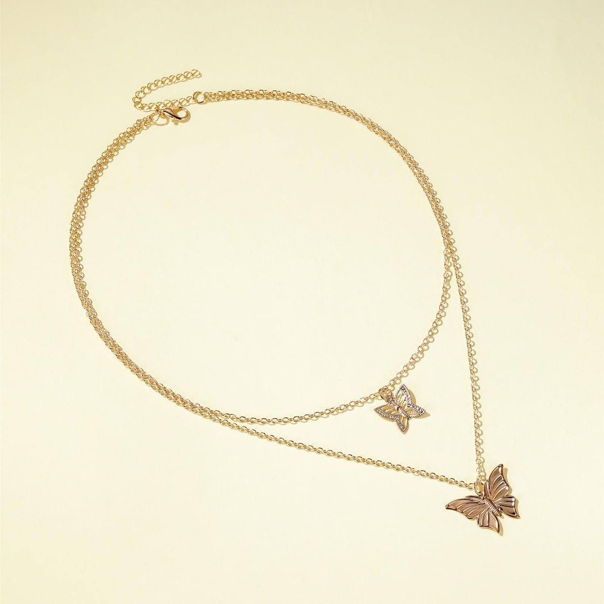 Многослойное ожерелье с бабочкой для девочек фото
