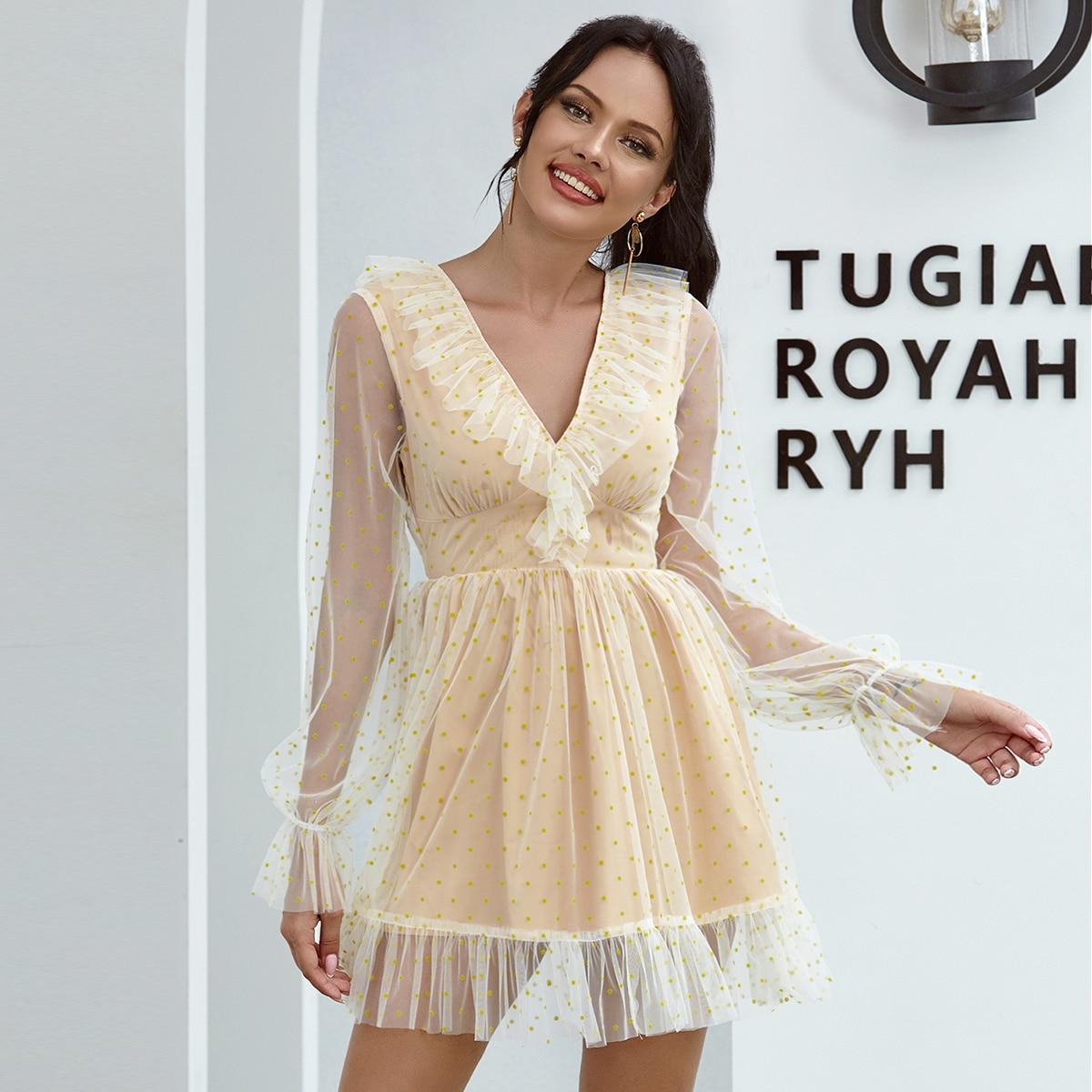 Double Crazy сетчатое платье в горошек с оборкой фото