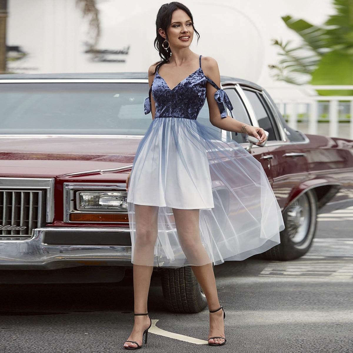 Double Crazy сетчатое платье с открытыми плечами фото