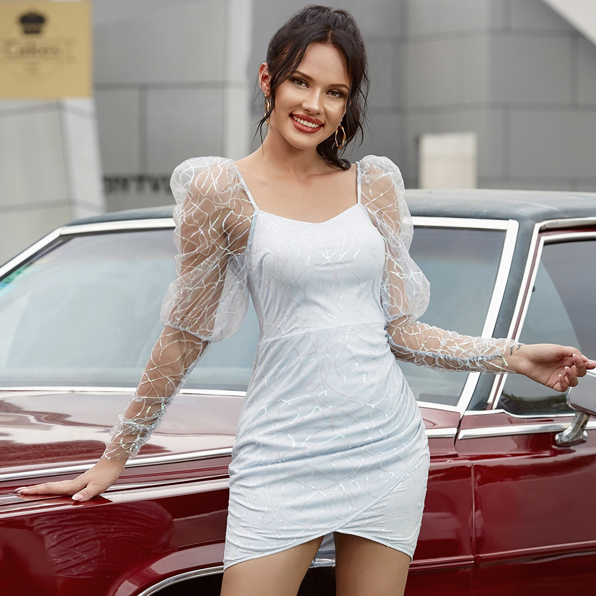 Double Crazy сетчатое платье с блестками фото