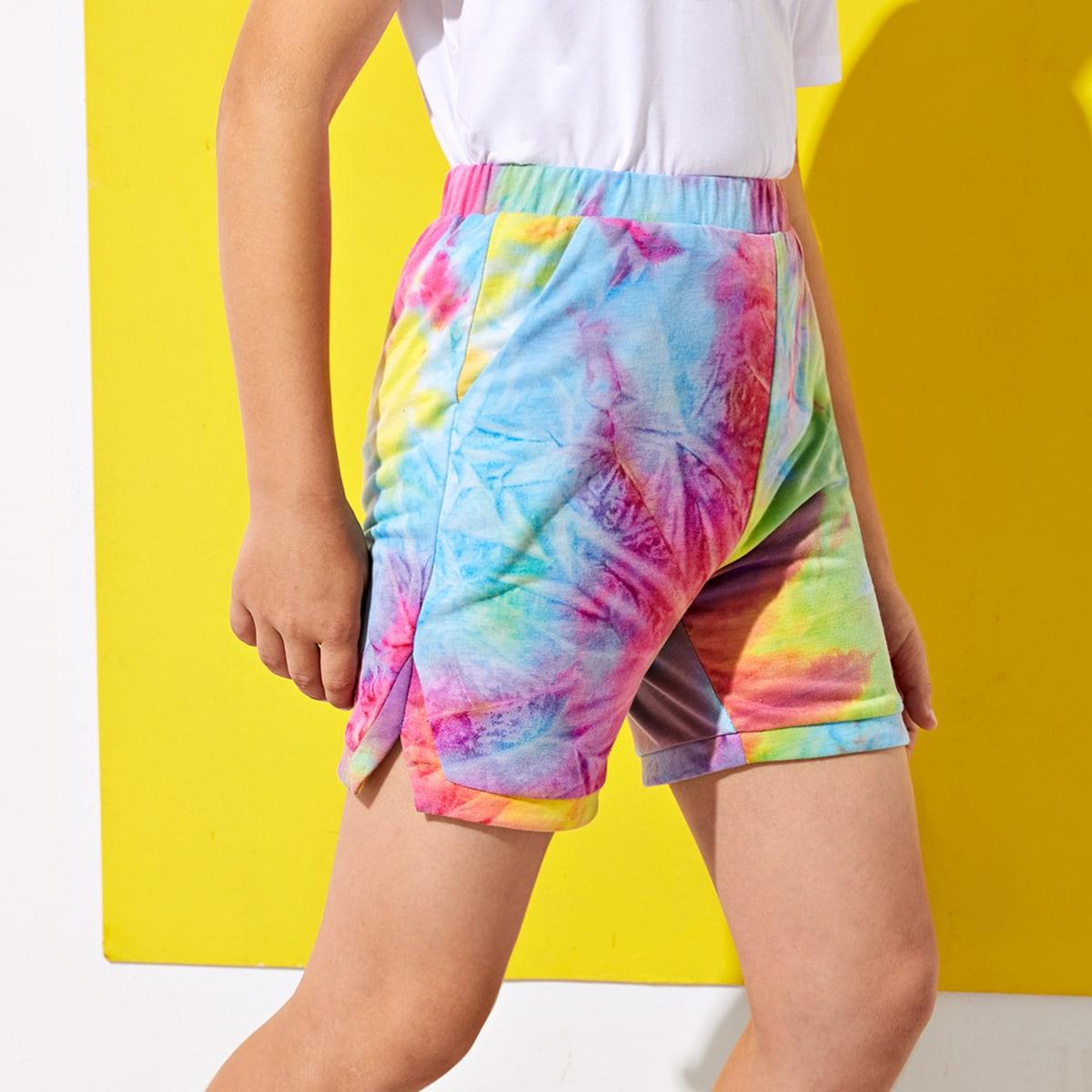 Разноцветные шорты с разрезом для мальчиков от SHEIN