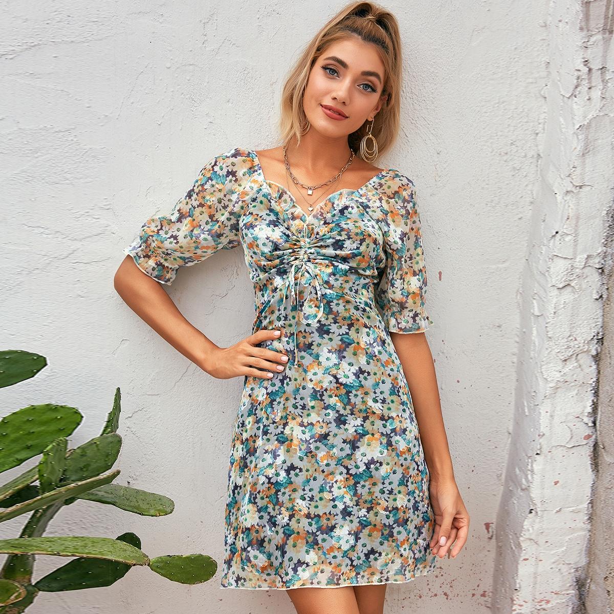 D&M шифоновое платье с цветочным принтом на кулиске фото