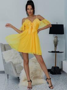 Shoulder   Yellow   Ruffle   Dress   Neon   Mesh   Lace   Up