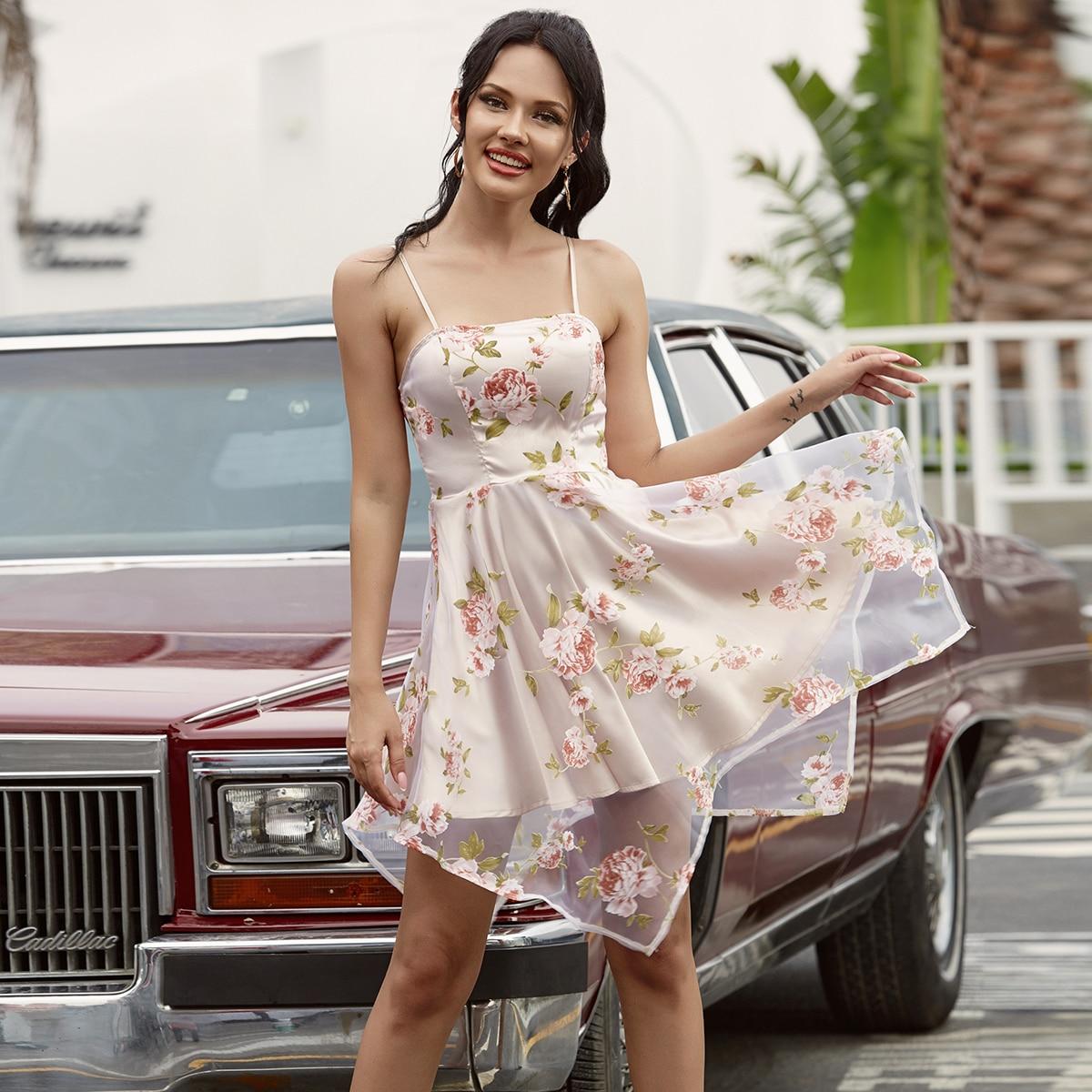 Double Crazy Платье на бретелях с цветочным принтом фото