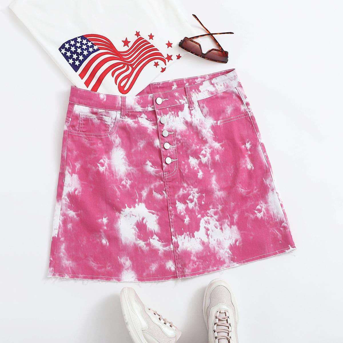 Разноцветная джинсовая юбка размера плюс
