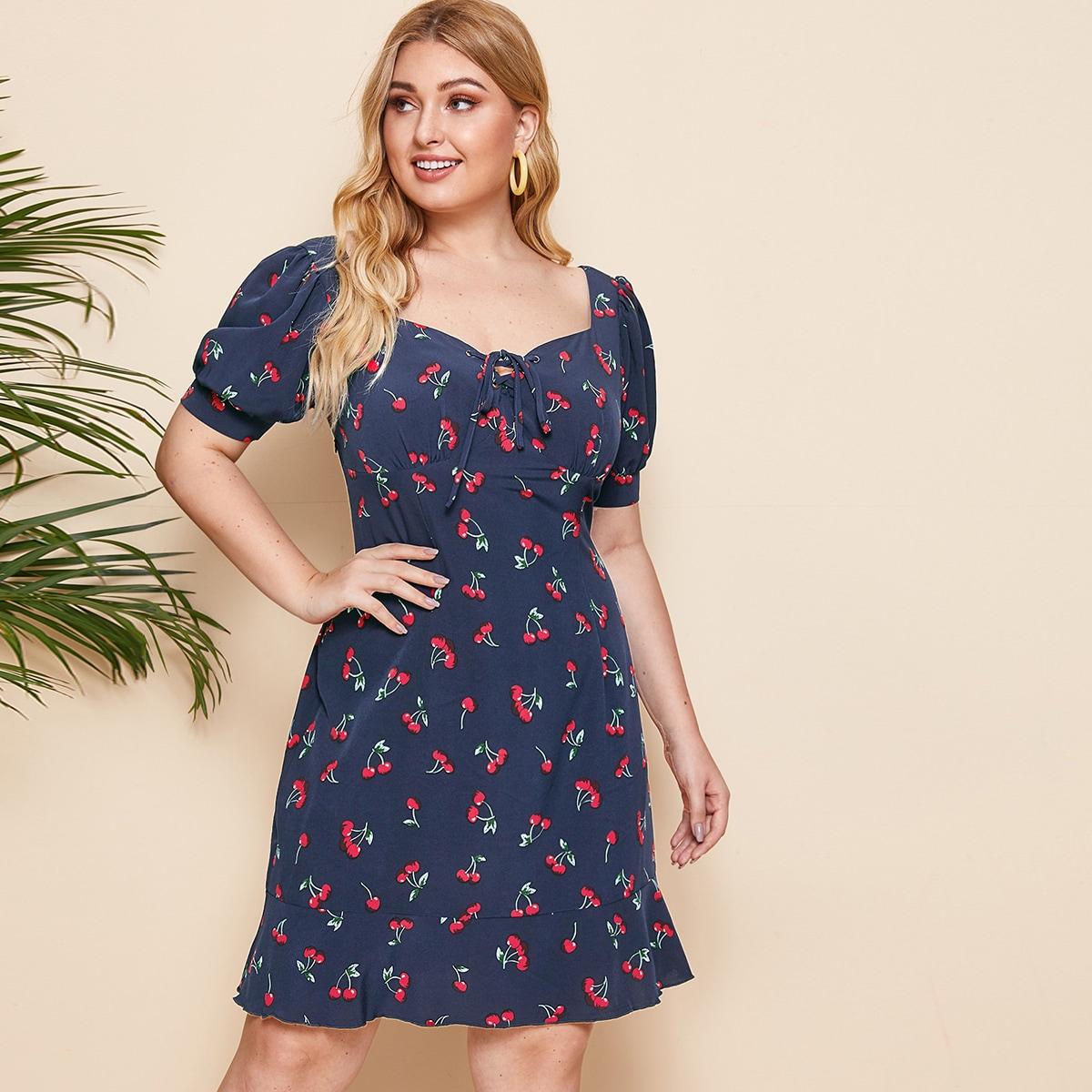 Платье размера плюс с принтом вишни и шнурком фото