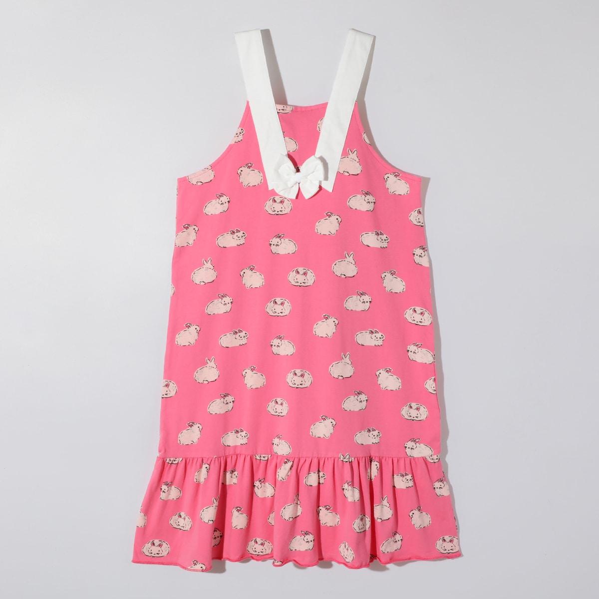 Розовые Низ-оборка Мультяшный принт милый Домашняя одежда для девочек от SHEIN