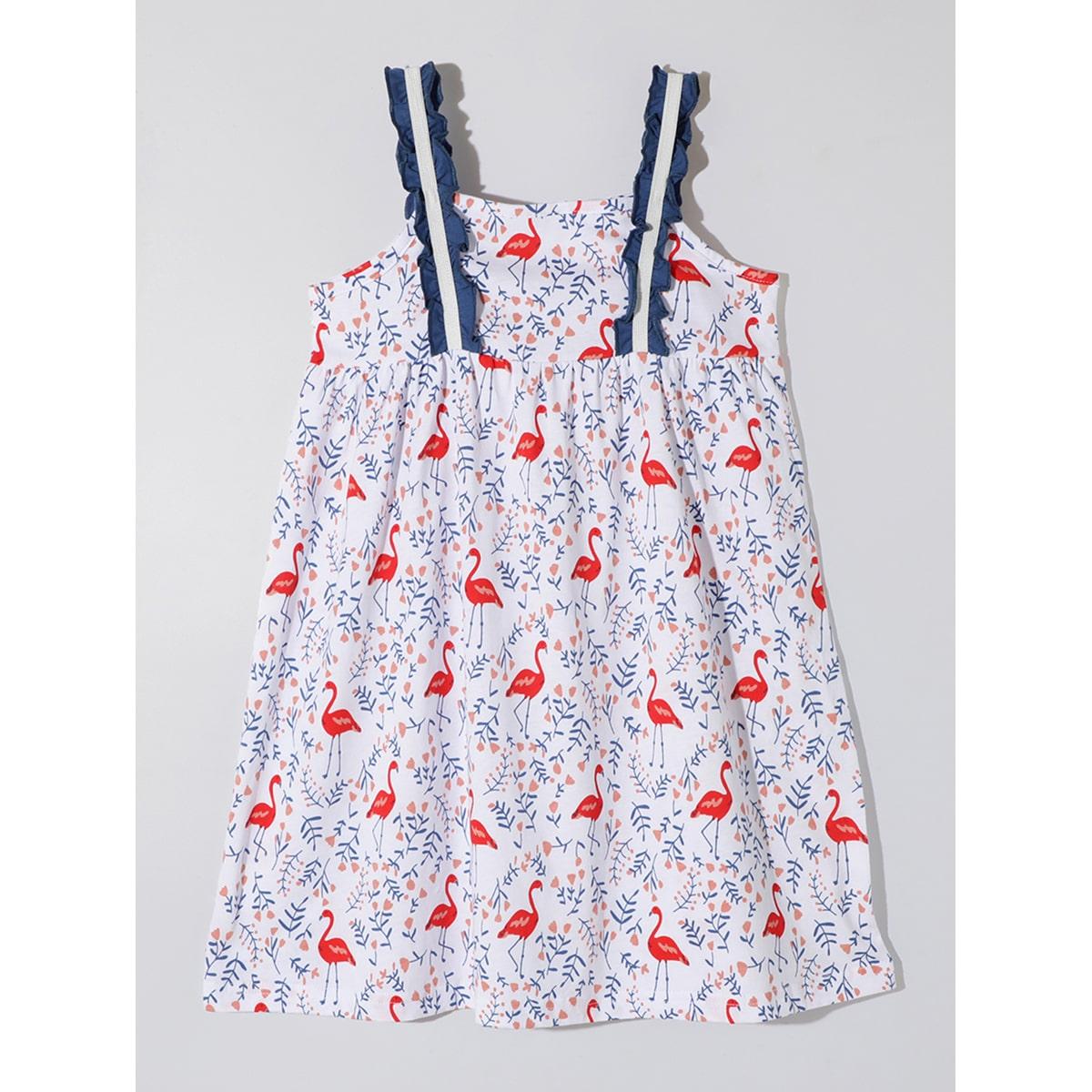 многоцветный Оборка цветочный Бохо Домашняя одежда для девочек от SHEIN