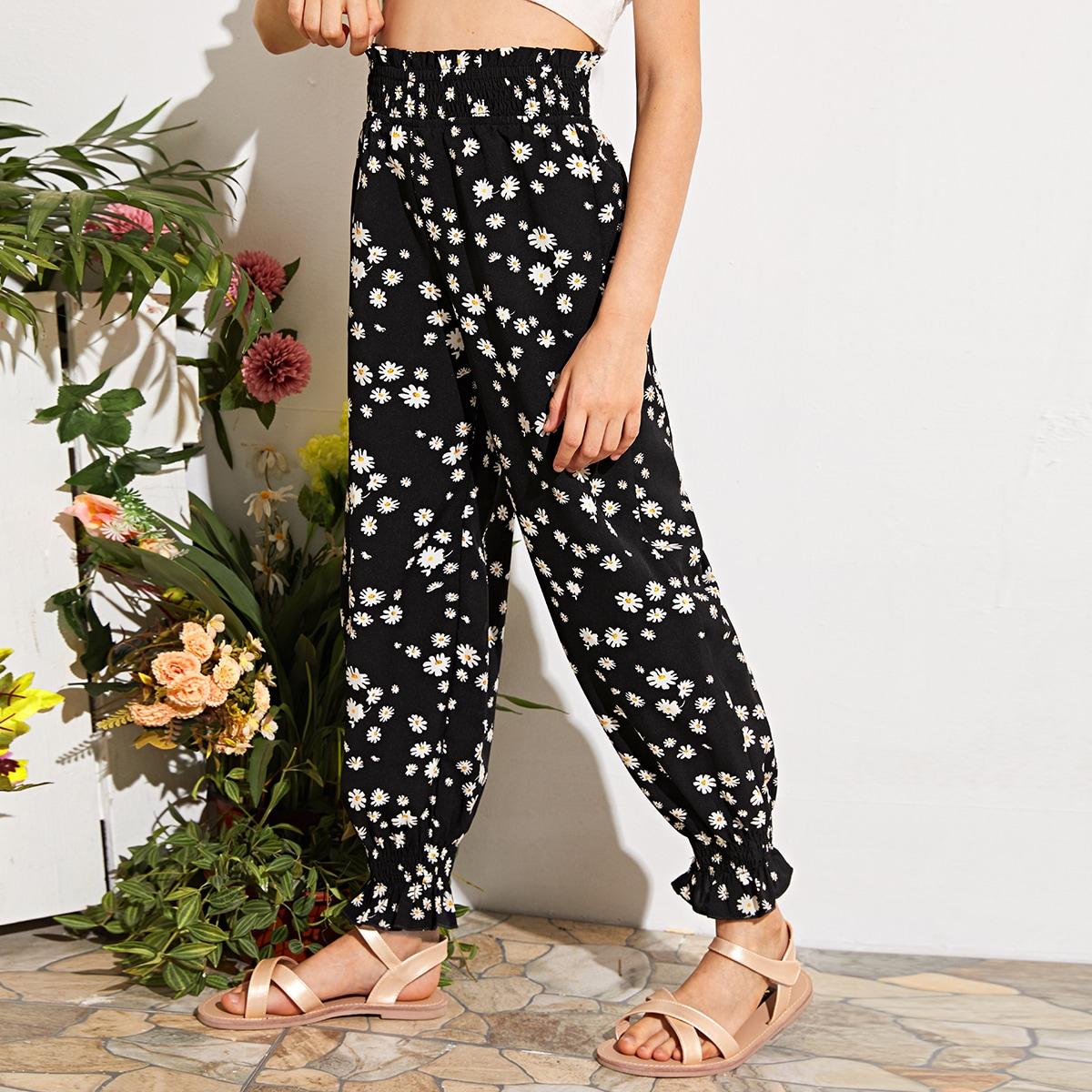 SHEIN / Hose mit gerafftem Einsatz, Papiertasche um die Taille und Gänseblümchen Muster