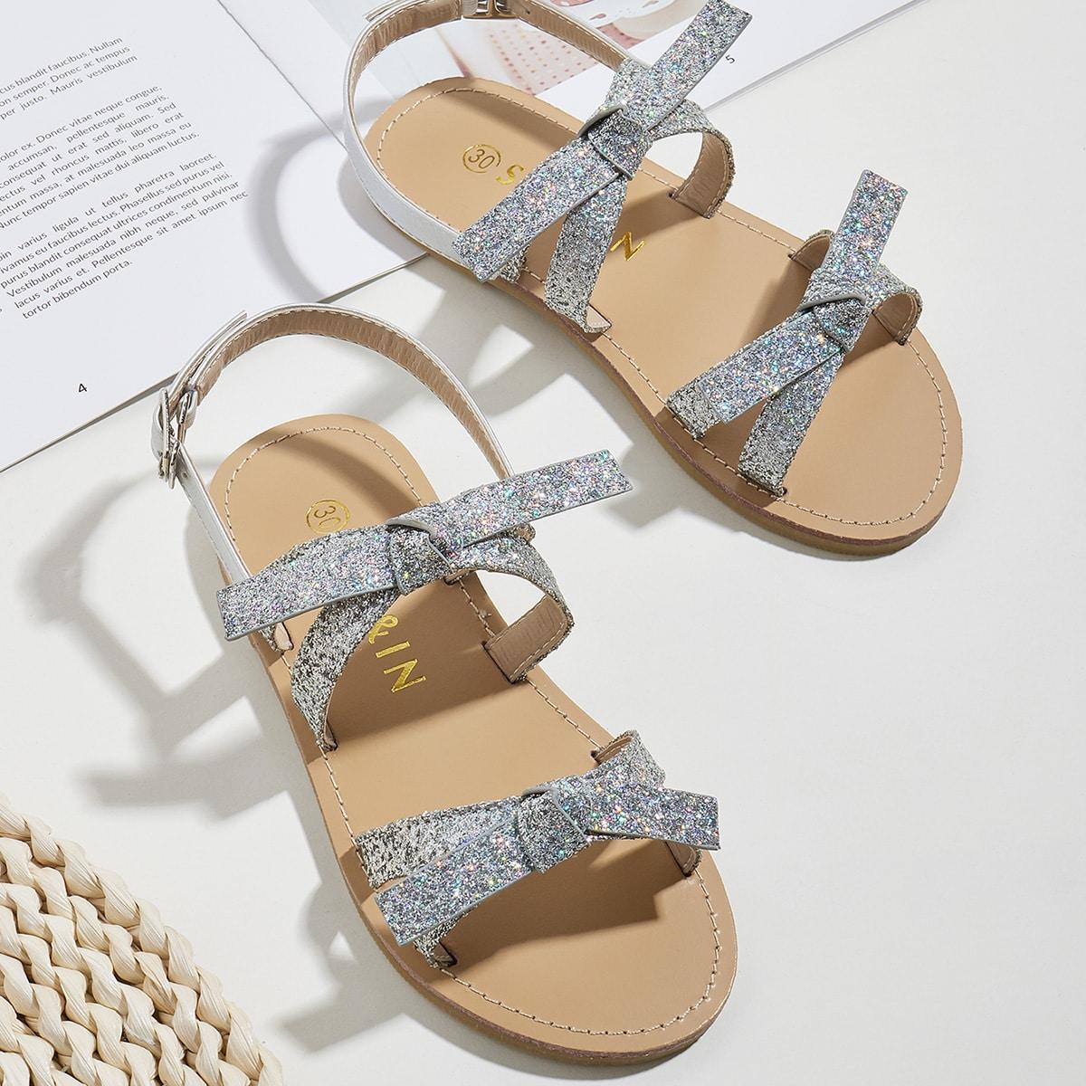 Блестящие сандалии с бантом для девочек