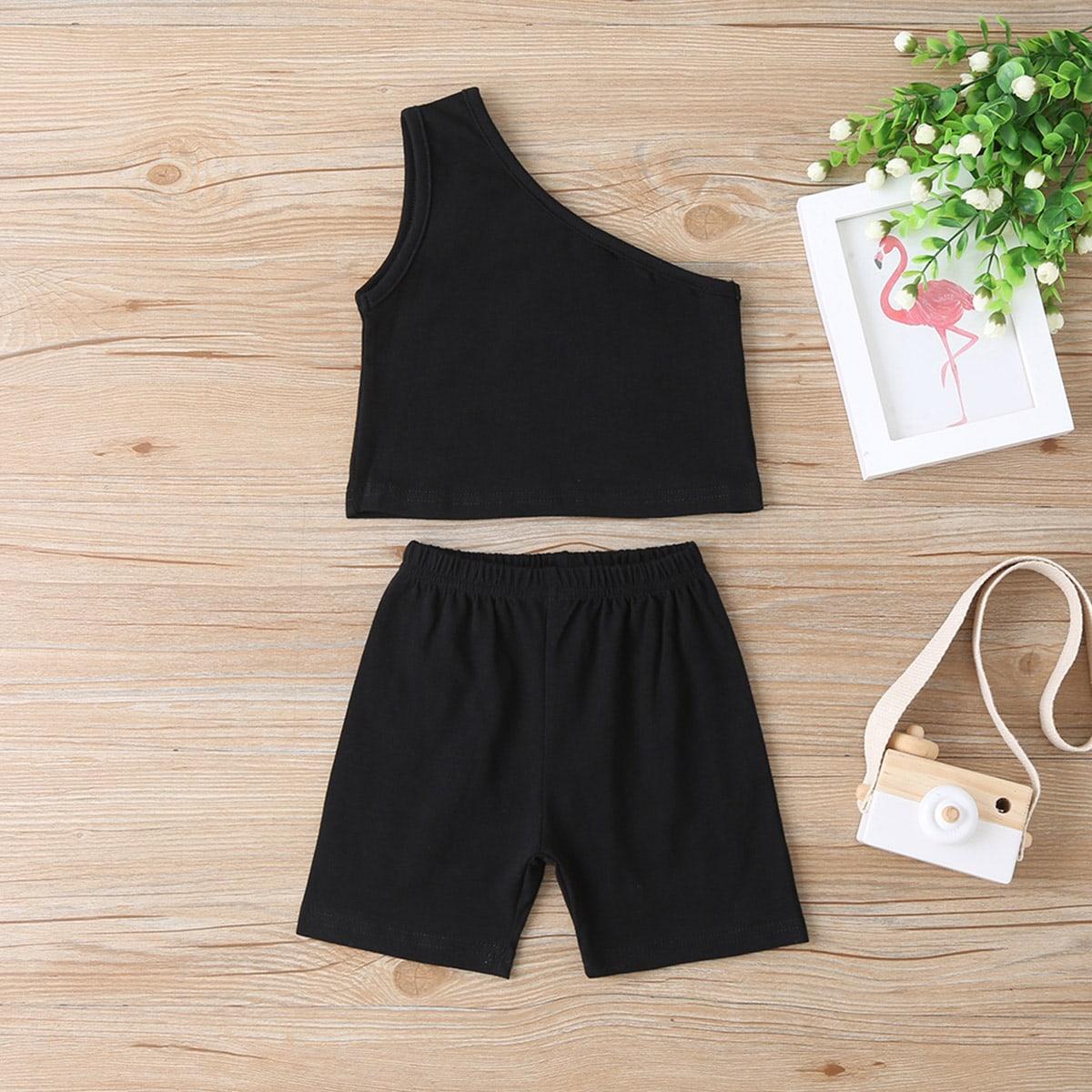 Черный Ровный цвет Спортивный Комплекты для девочек от SHEIN