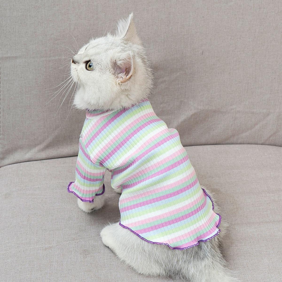1шт полосатый топ для кошек фото