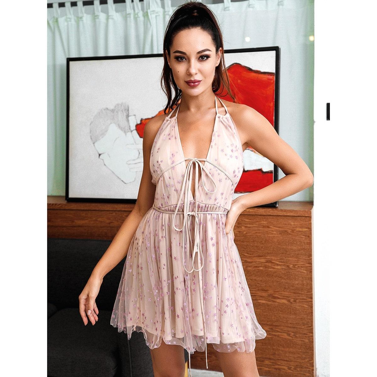 HouseOfChic сетчатое платье с принтом звезды, узлом и глубоким вырезом фото
