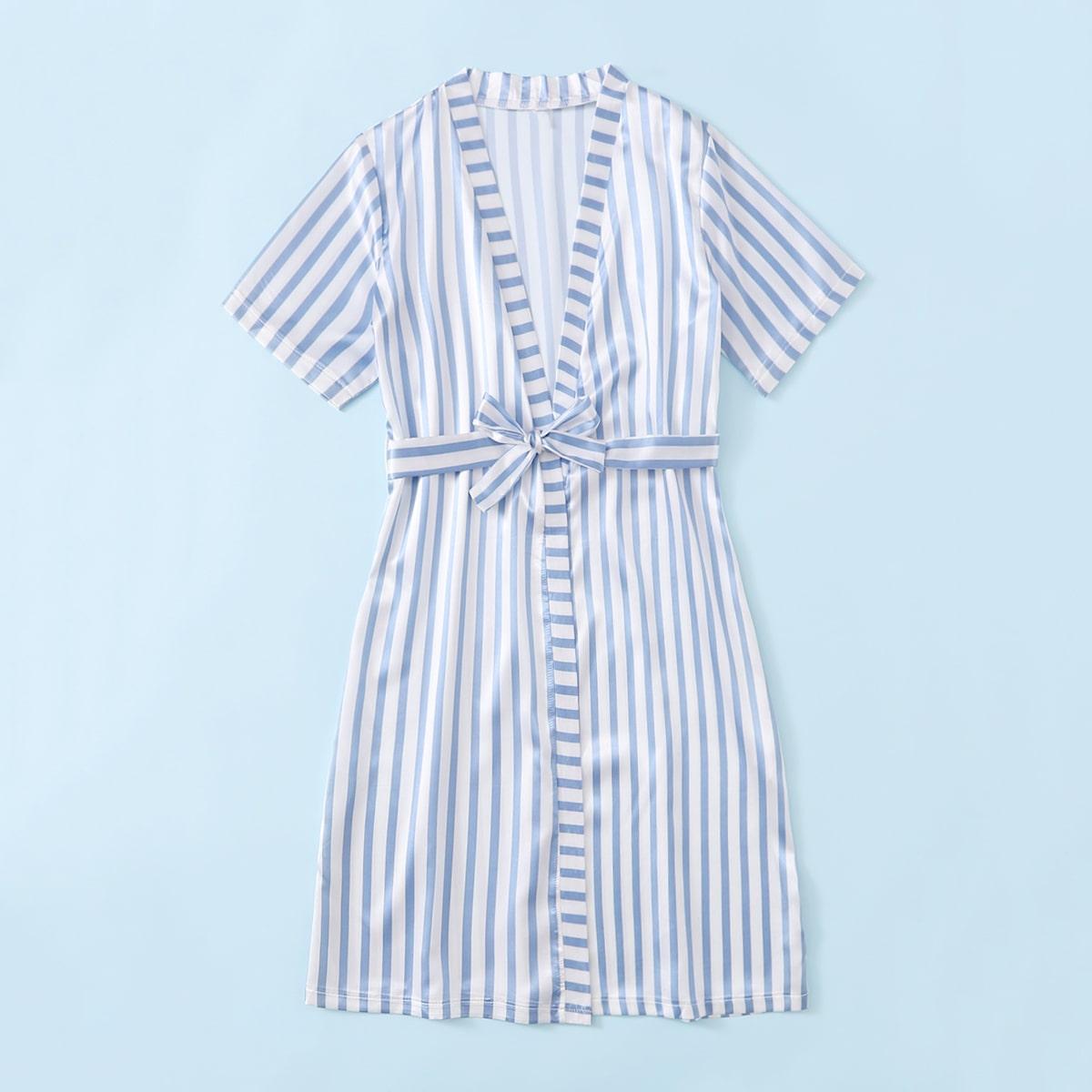 Синий и Белый с поясом Полоска Повседневный Домашняя одежда для мальчиков от SHEIN