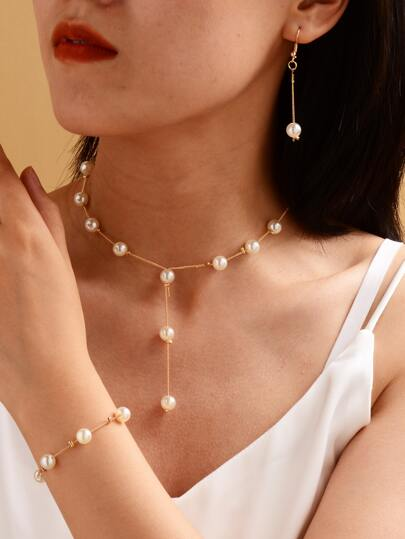 4pcs Faux Pearl Decor Jewelry Set
