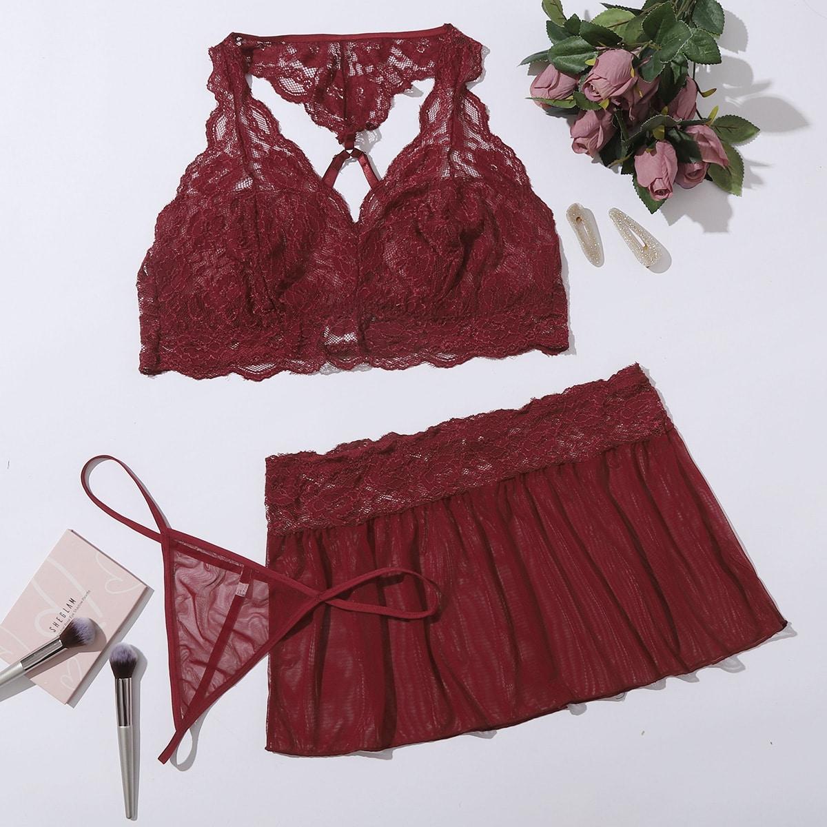 3 пакета комплект кружевного нижнего белья и сетчатая юбка размера плюс от SHEIN