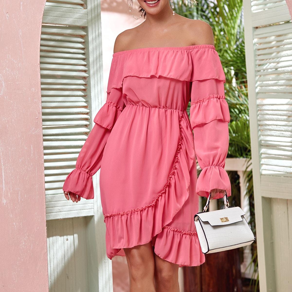 SHEIN / Flounce Sleeve Ruffle Bardot Wrap Chiffon Dress